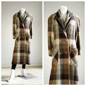 Vintage Wool Large Scale Plaid Coat